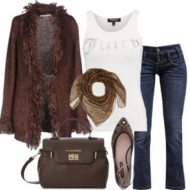 Outfit Il cardigan marrone