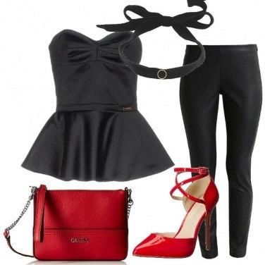 Outfit Rosso e nero da sera