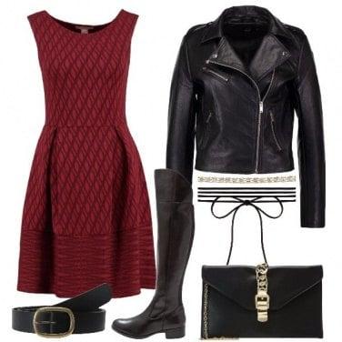 Outfit Rock col vestito rosso