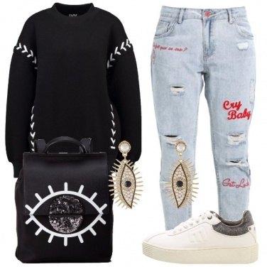 Outfit La felpa nera
