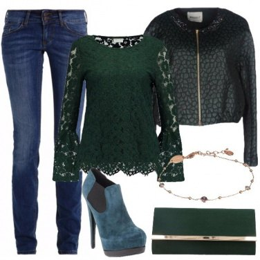 Outfit Camicetta in merletto verde