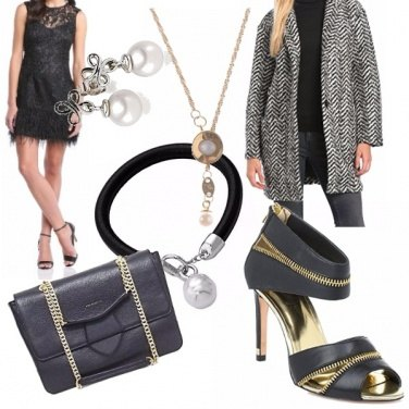 Outfit Black and Gold party with pearls