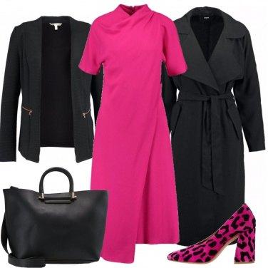 Outfit Ufficio in fucsia e nero