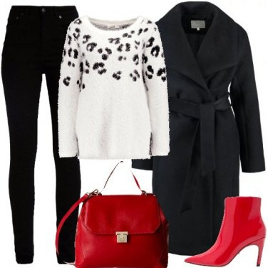 Outfit Rosso e animalier