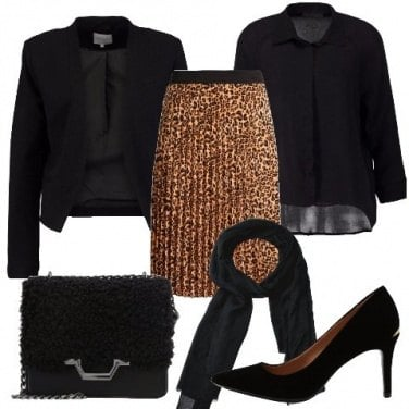 Outfit Gonna a pieghe animalier