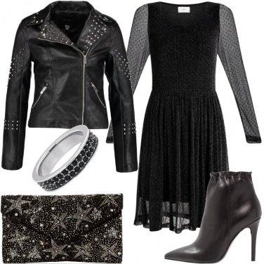 Outfit Anello in argento con pietre nere