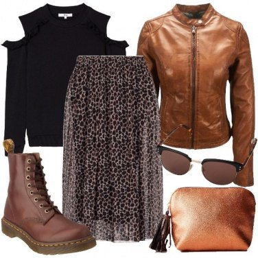 Outfit Gonna a campana animalier