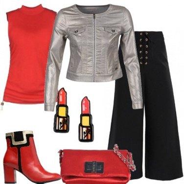 Outfit Aperitivo in rosso e argento