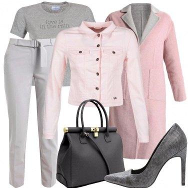 Outfit Cappotto rosa e grigio