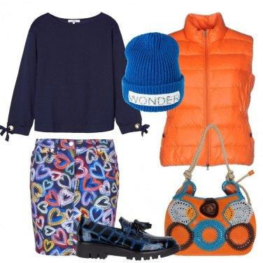 Outfit Il gilet trapuntato arancione