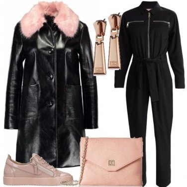 Outfit Nero rosa e zip