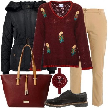 Outfit La mia borsa bordeaux