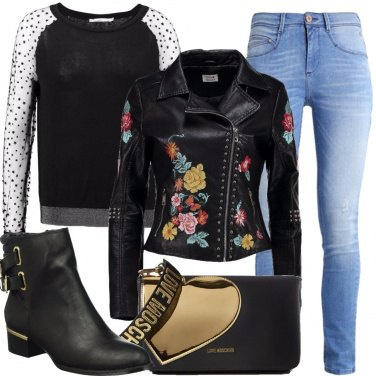 Outfit Giacca con fiori ricamati
