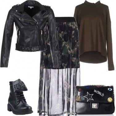 Outfit Nero e oliva