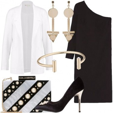 Outfit Bianco nero e oro con il monospalla