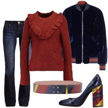 Outfit Blu e ruggine