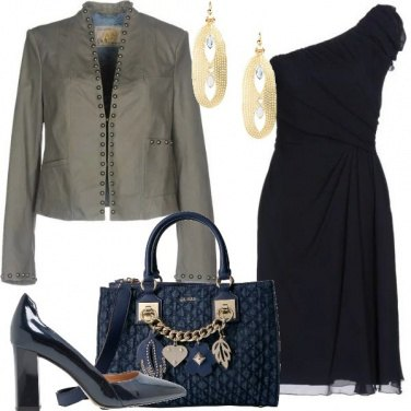 Outfit Abito monospalla blu