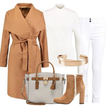 Outfit Cammello e bianco
