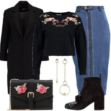 Outfit I fiori sulla felpa