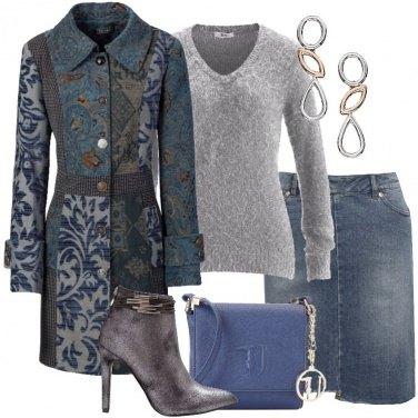Outfit Il soprabito mix jacquard