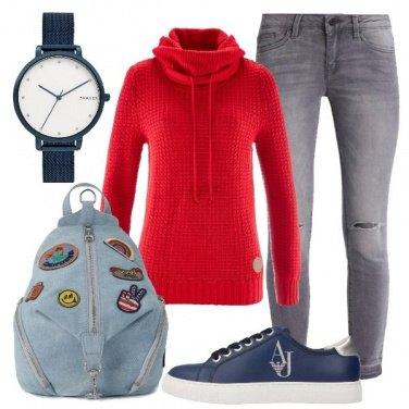 Outfit Rosso e blu per tutti i giorni