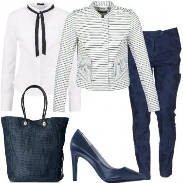Outfit Righe e pois chic