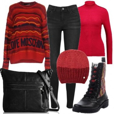 Outfit Anfibi con inserti jaquard