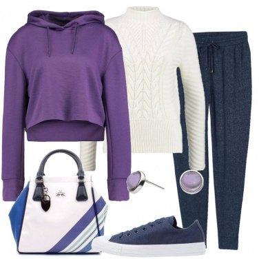 Outfit Jogger blu mélange