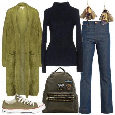 Outfit Il maxi cardigan verde