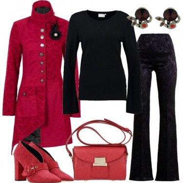 Outfit Damasco nero e rosso