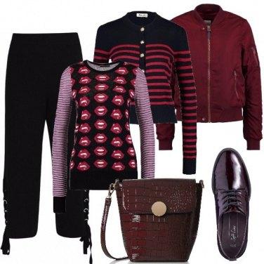 Outfit Righe in rosso e nero