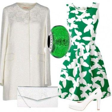 Outfit Cerimonia in bianco e verde