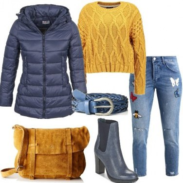 Outfit Jeans baggy e maglione