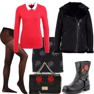 Outfit Rose rosse e grigie