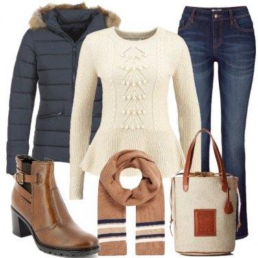 Outfit In blu e marrone