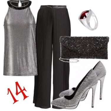 Outfit Elegante in silver and black