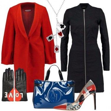 Outfit Cappotto rosso e denim nero
