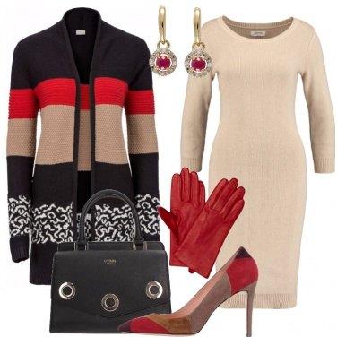 Outfit Abito in maglia e cardigan