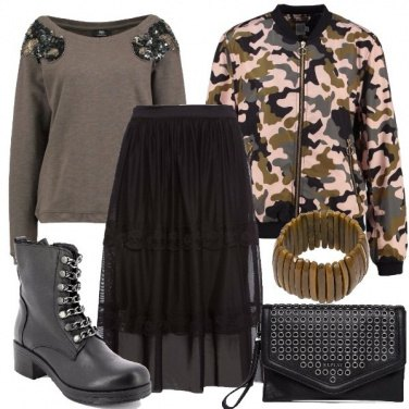 Outfit Stivaletto gonna e bomber