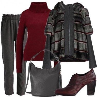Outfit Metà cappotto e metà ecopelliccia