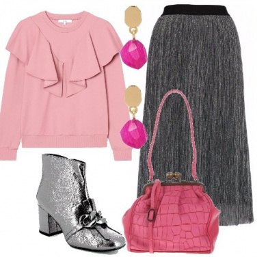 Outfit Rosa e silver