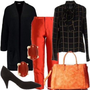 Outfit Bon ton tinto di arancio