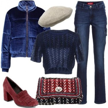 Outfit Blu Peony per il bomber in velluto