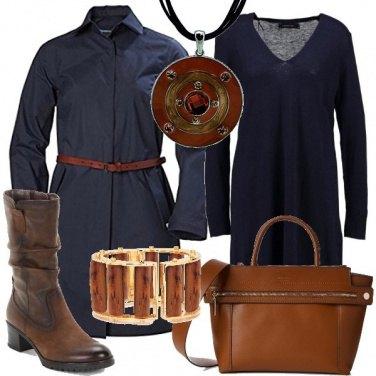 Outfit Cappotto e abito blu