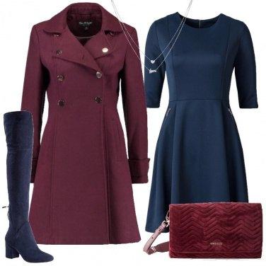 Outfit Bordeaux e blu