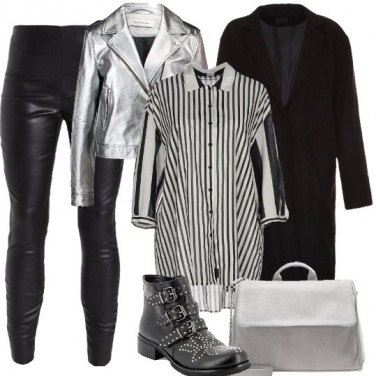 Outfit Ecopelle e argento