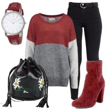 Outfit Col maglione a blocchi di colore