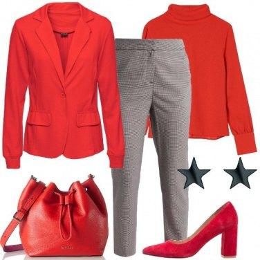 Outfit Rosso e pied de poule