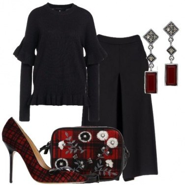 Outfit Nero ed un tocco di scozzese