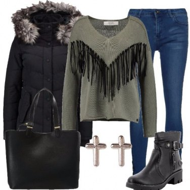 Outfit Il maglione con le frange